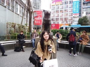 Hachiko statue in front of Shibuya train station